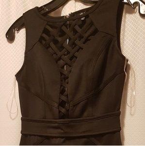 Braided Cage Plunge Mini Dress